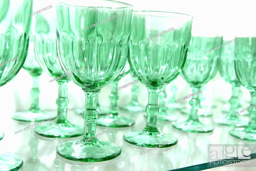 Stock Photo: Green cups rows glass crystal luxury kitchenware.