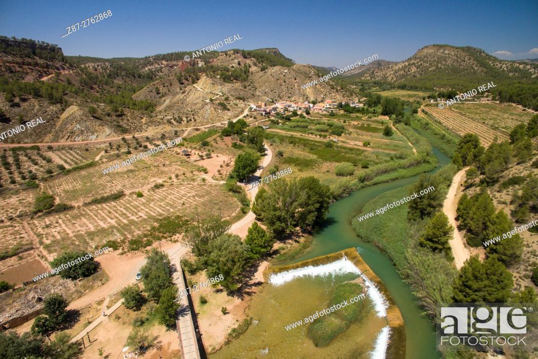 Stock Photo: Aerial phtography using a drone: river Cabriel and Casas del Río, Requena, Valencia province, Comunidad Valenciana, Spain.