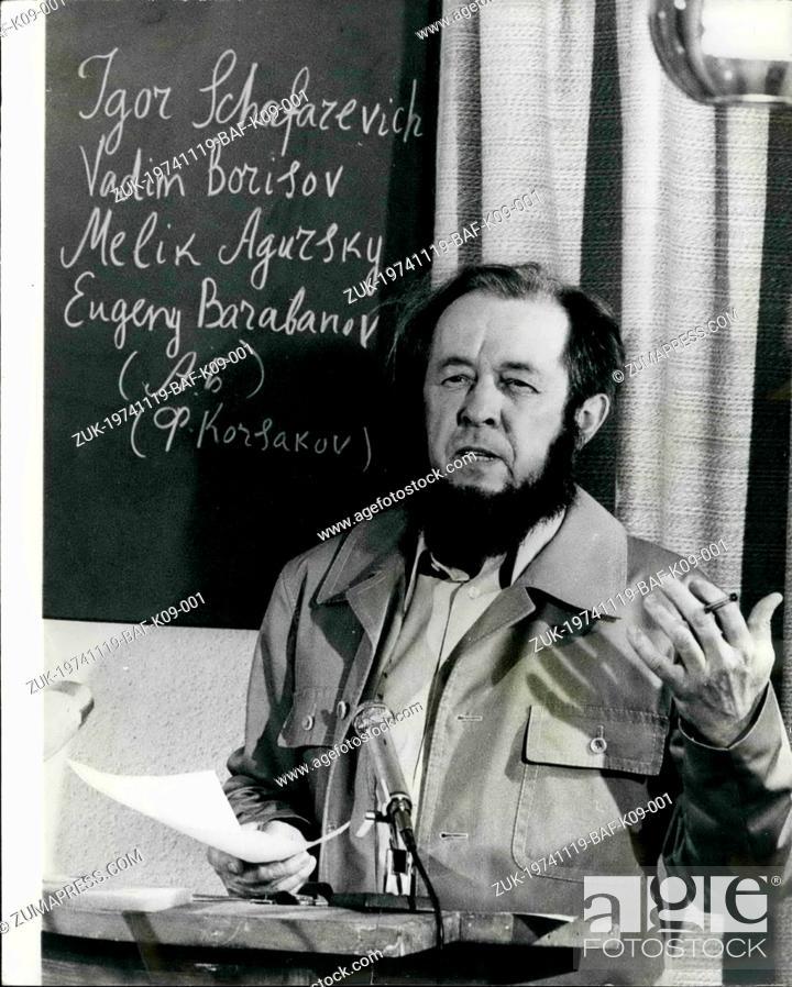 Imagen: Nov. 19, 1974 - November 19th 1974. Solzhenitsyn holds press conference. Alexander Solzhenitsyn held his first press conference in the West since he was.