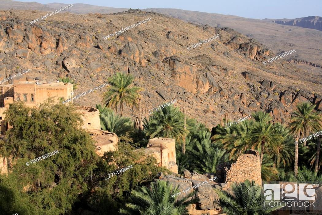 Stock Photo: Misfat village, mountain scenery, Al-Dakhiliyah, Oman.