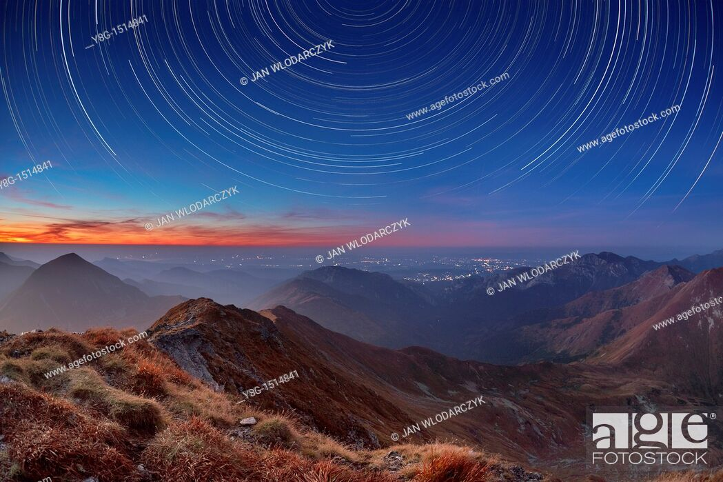 Stock Photo: Tracks of stars on the sky, Bystra Peak, Tatra National Park, Slovakia, Europe.