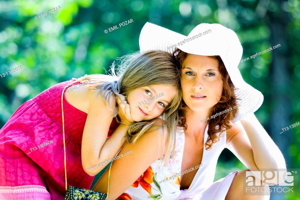 Stock Photo: Mother and daughter in the park.