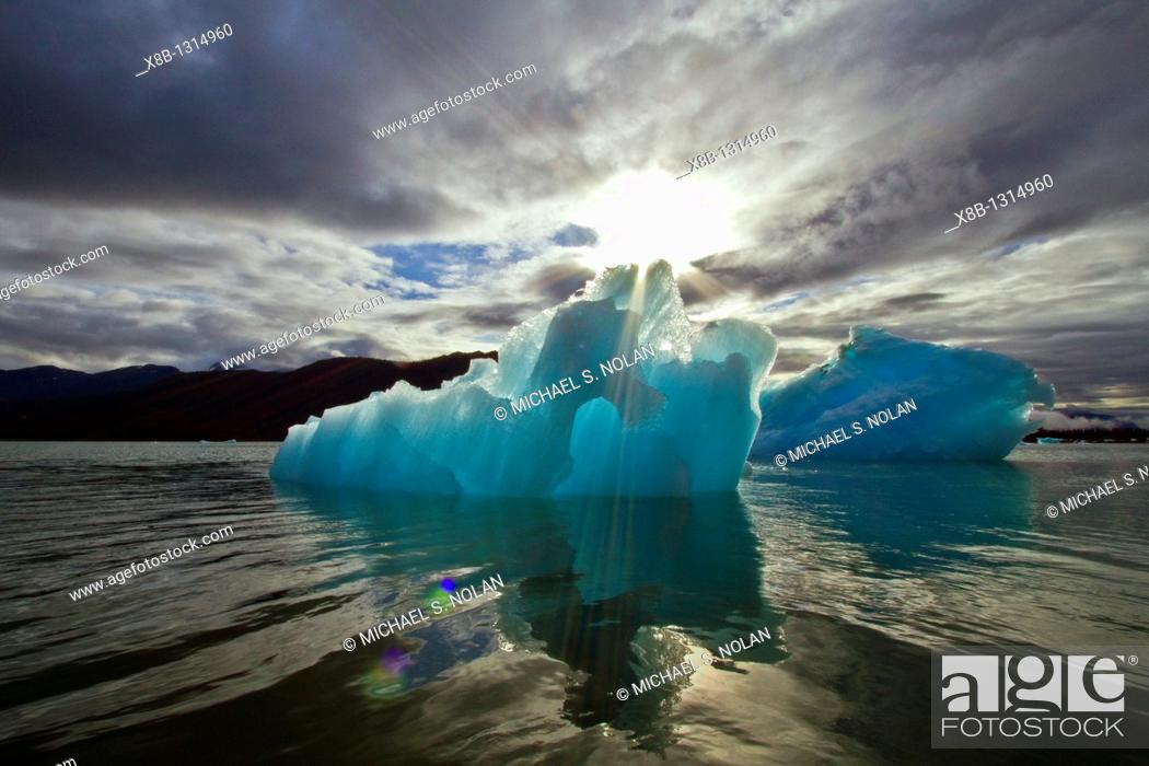 Stock Photo: Glacial iceberg detail from ice calved off the LeConte Glacier near Petersberg, Southeast Alaska, USA, Pacific Ocean  MORE INFO LeConte Glacier is the.