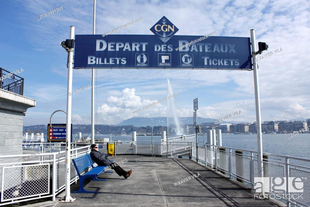 Stock Photo: departure CGN boat to cross the Leman's lake, stop Geneve Mont Blanc, city of Genève, Switzerland.