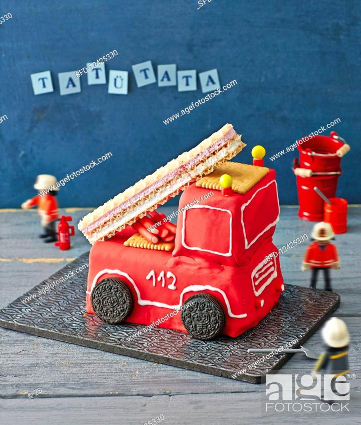 Marvelous A Fire Engine Birthday Cake Stock Photo Picture And Rights Personalised Birthday Cards Arneslily Jamesorg