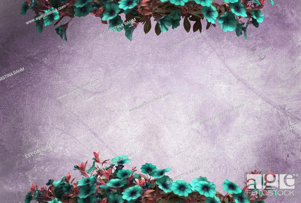 Stock Photo: Green petunias on purple oil painting canvas background copy space texture.