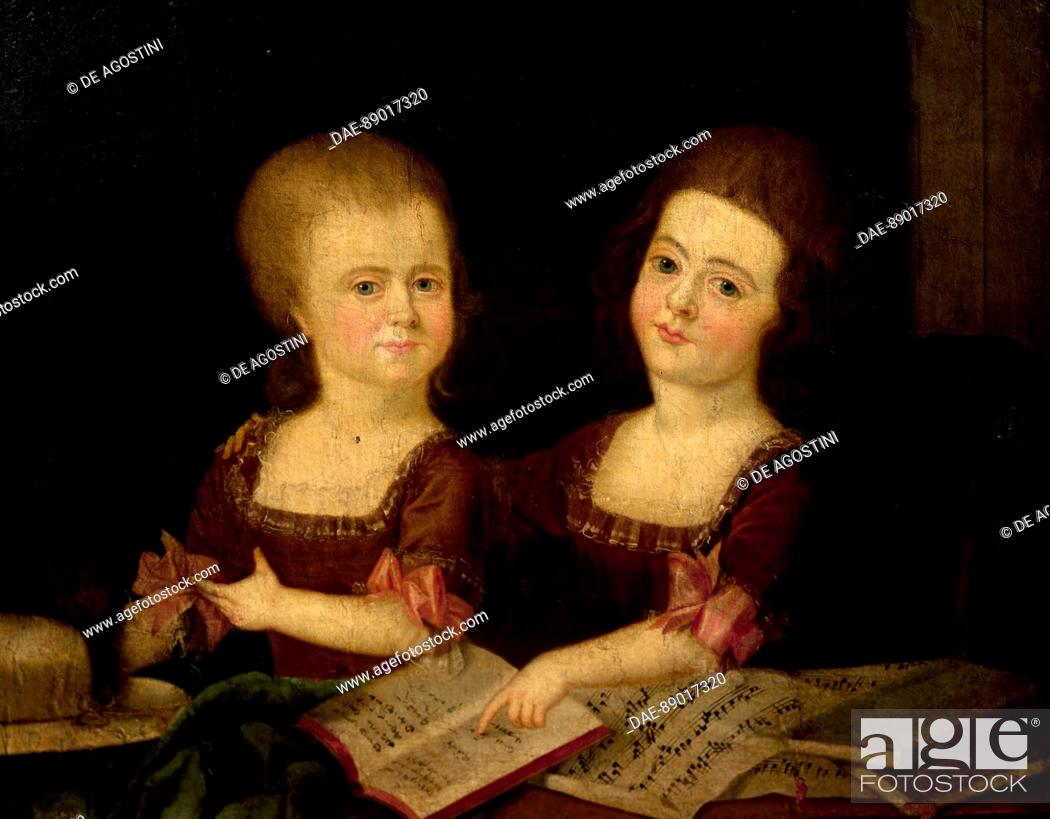 Imagen: Girls at the music studio, painting by an unknown 18th century artist.  Prague, Vila Bertramka Muzeum W.A. Mozarta A Manzelu Duškovych (Museumof Mozart And.