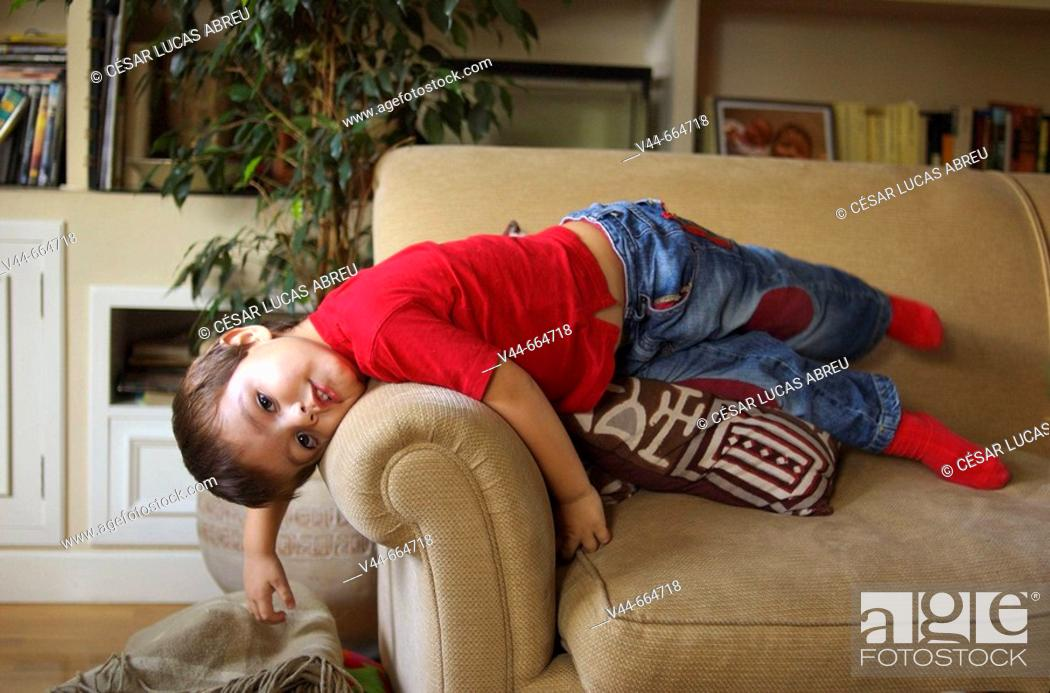Stock Photo: 3 years old boy al home. Madrid, Spain.