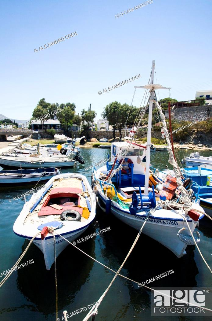 Stock Photo: Boats in Parikia, Paros, Greece, Western Europe.