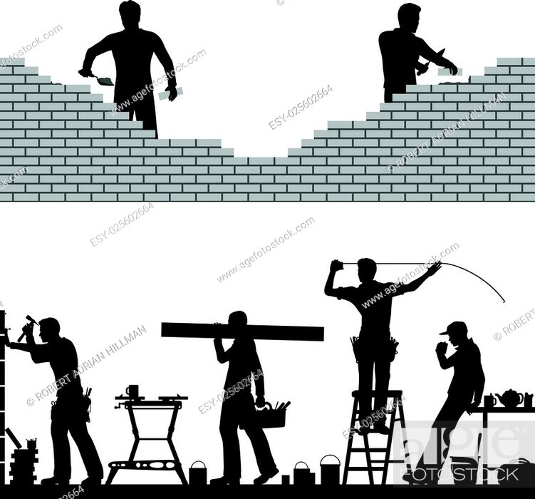 Stock Vector: Two editable vector foreground design elements of builders and bricklayers.