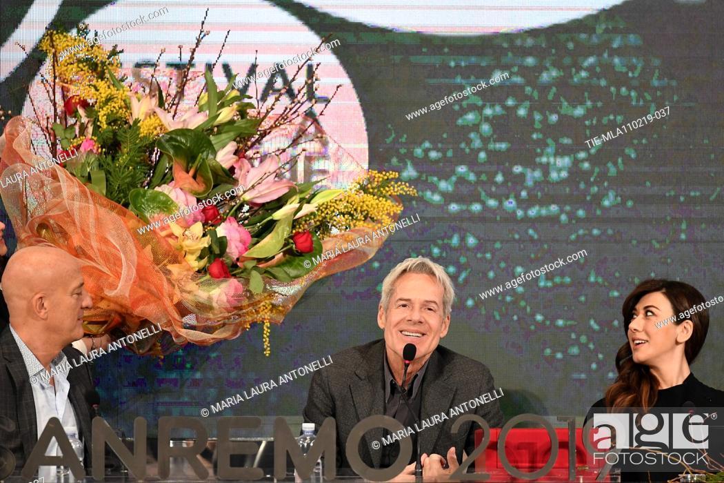 Imagen: Claudio Bisio, Claudio Baglioni, Virginia Raffaele during the final press conference of 69th Sanremo Music Festival, Sanremo, ITALY- 10-02-2019.