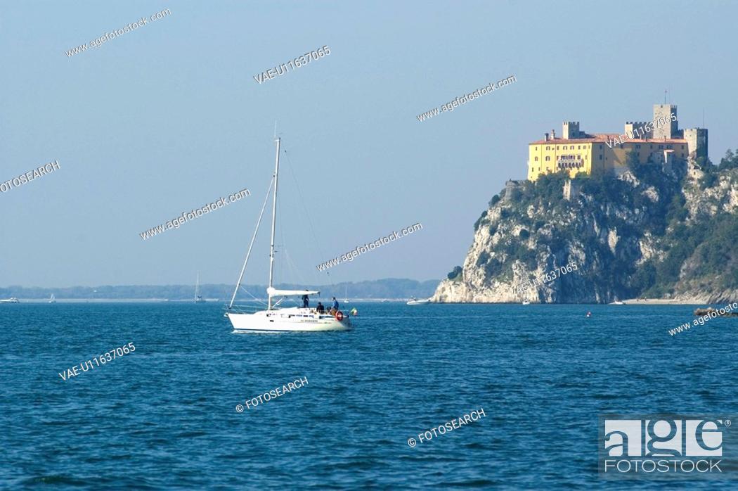 Stock Photo: marine, castle, coast, boat, sea, rocks, adriatic sea.