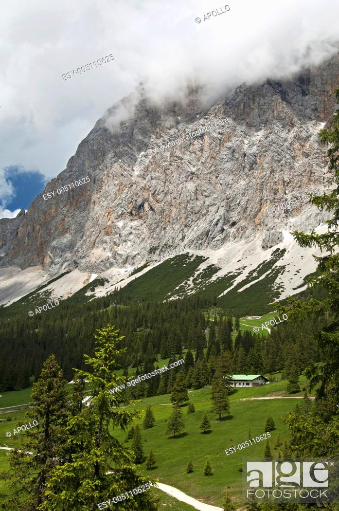Stock Photo: At the Ehrwalder Alp beneath Mt  Zugspitze, Wetterstein mountain range, Ehrwald, Tyrol, Austria.