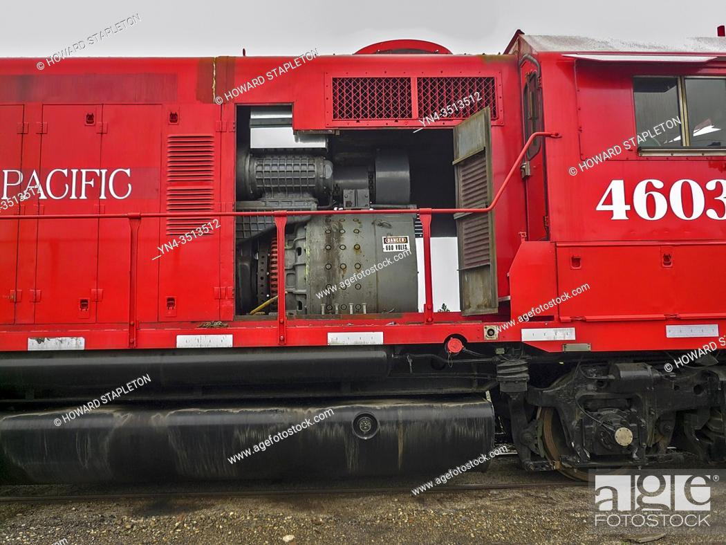 Stock Photo: Idaho Northern and Pacific Locomotive with open panels shown part of the engine.