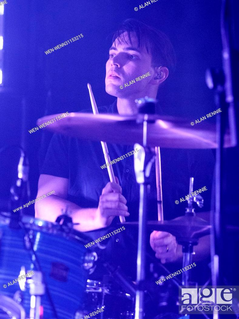 White Lies performing live in concert at Potterrow, Edinburgh, Stock