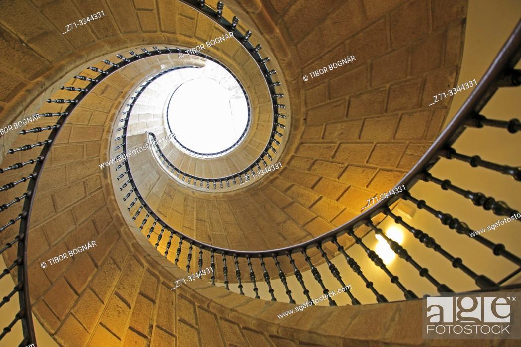 Imagen: Spain, Galicia, Santiago de Compostela, Santo Domingo de Bonaval Convent, spiral staircase, .