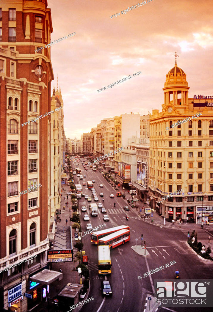 Stock Photo: Gran Via. Madrid. Spain.