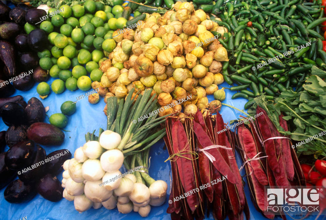 Stock Photo: Vegetables  in a Mexican Market.