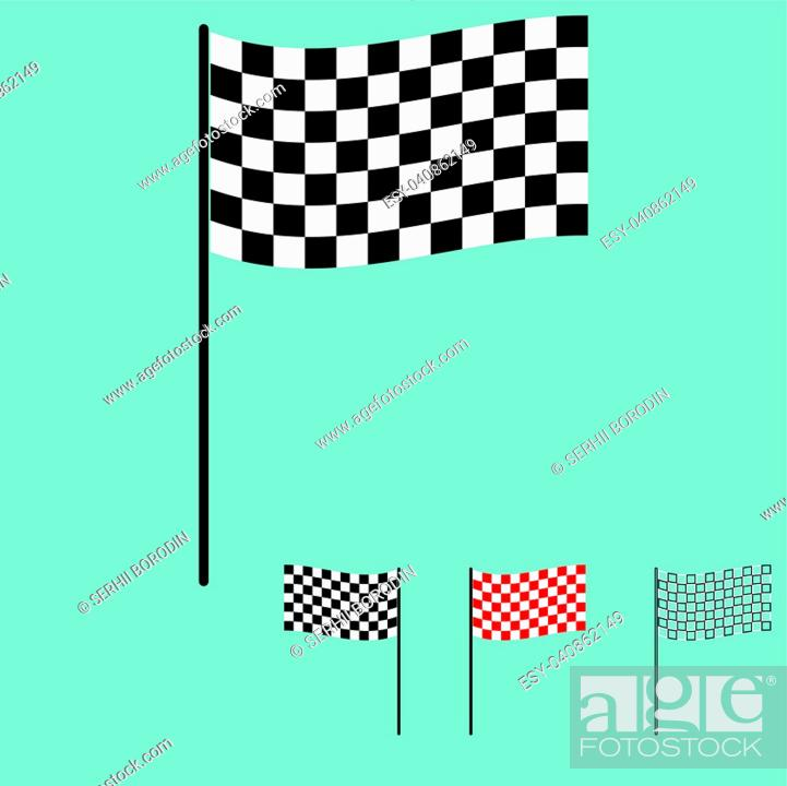 Stock Vector: The racing flag black and white colour.