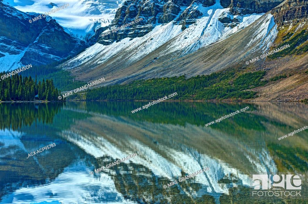 Stock Photo: reflection of the Canadian Rocky Mountains in Bow Lake Banff National Park Alberta Canada.
