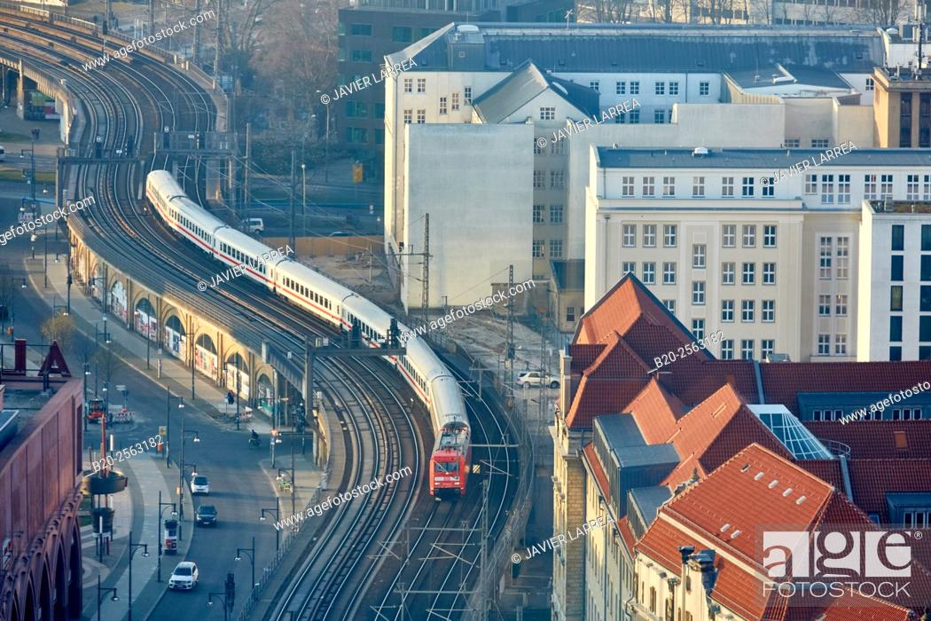 Stock Photo: Railroad tracks, railway, Alexanderplatz, Berlin, Germany.