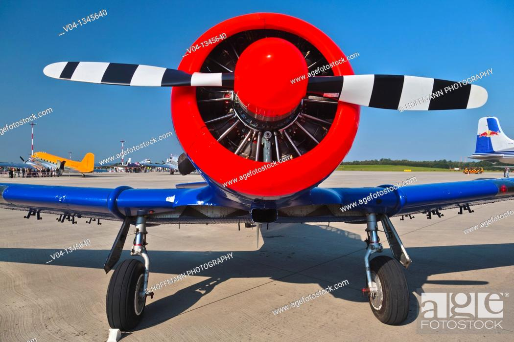 Stock Photo: Head-on view of a Harvard T6 airplane, Germany, Europe.