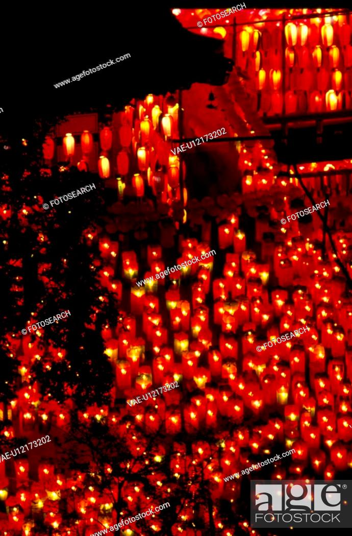 Stock Photo: buddhist supplies, buddha`s birthday, religous product, religious goods, night, lotus lantern, temple.