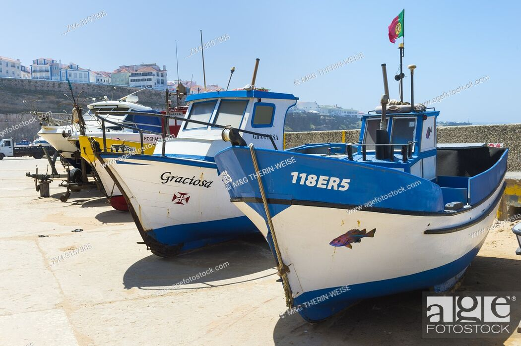 Stock Photo: Fishermen boats, Praia dos Pescadores, Fisherman beach, Ericeira, Lisbon Coast, Portugal.