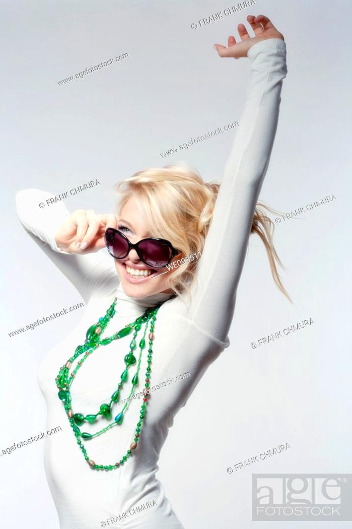 Stock Photo: beautiful blond shot against white background.