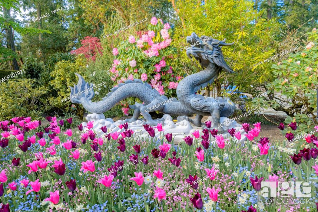 Stock Photo: Chinese Dragon, Butchart Gardens, Brentwood Bay, near Victoria, British Columbia, Canada.
