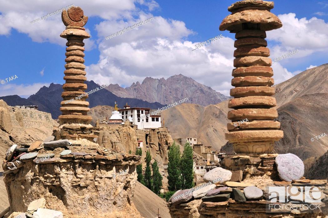 Stock Photo: View of Lamayuru village  On top of the hill is Lamayuru Temple.