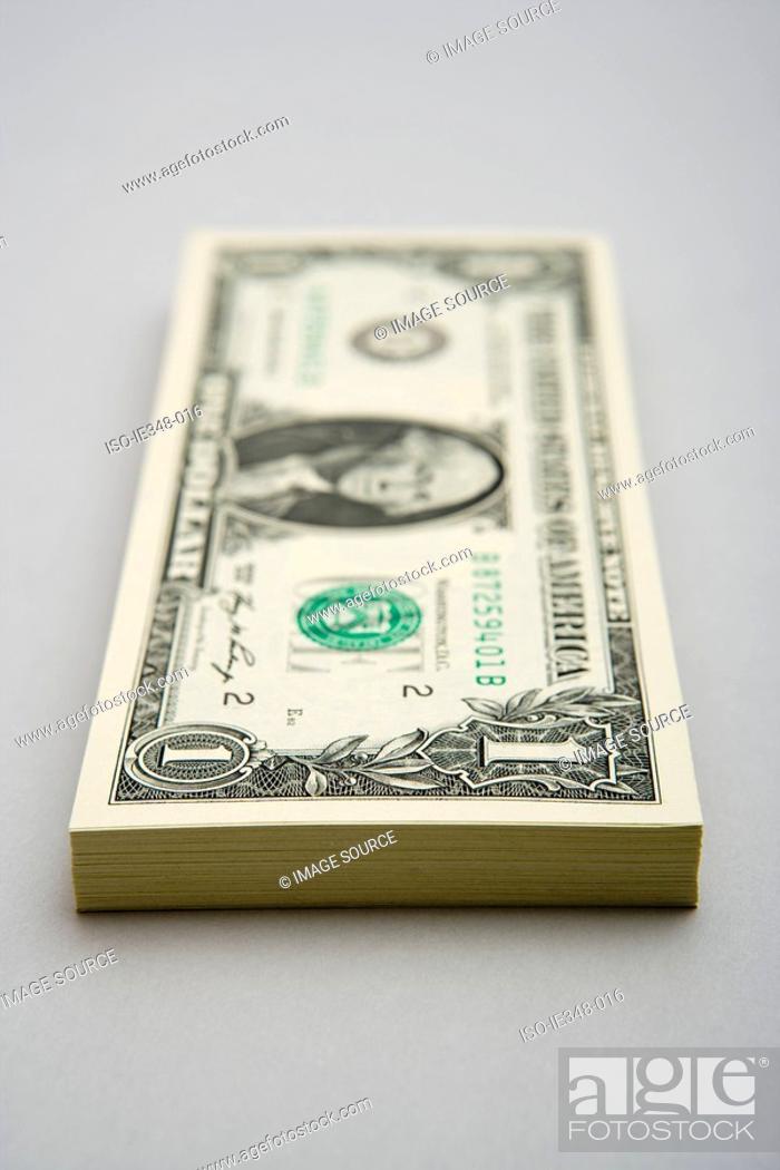 Stock Photo: Stack of dollar bills.