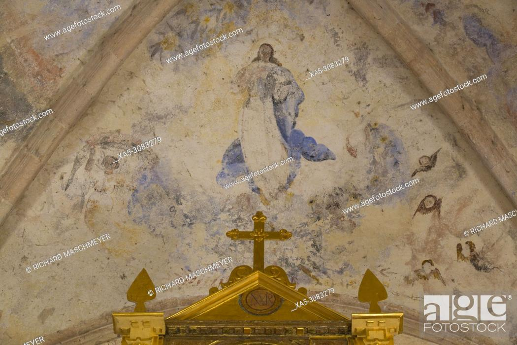 Stock Photo: Original Frescoes, Former Convent San Miguel Arcangel, founded 1541 AD, Route of the Convents, Mani, Yucatan, Mexico.