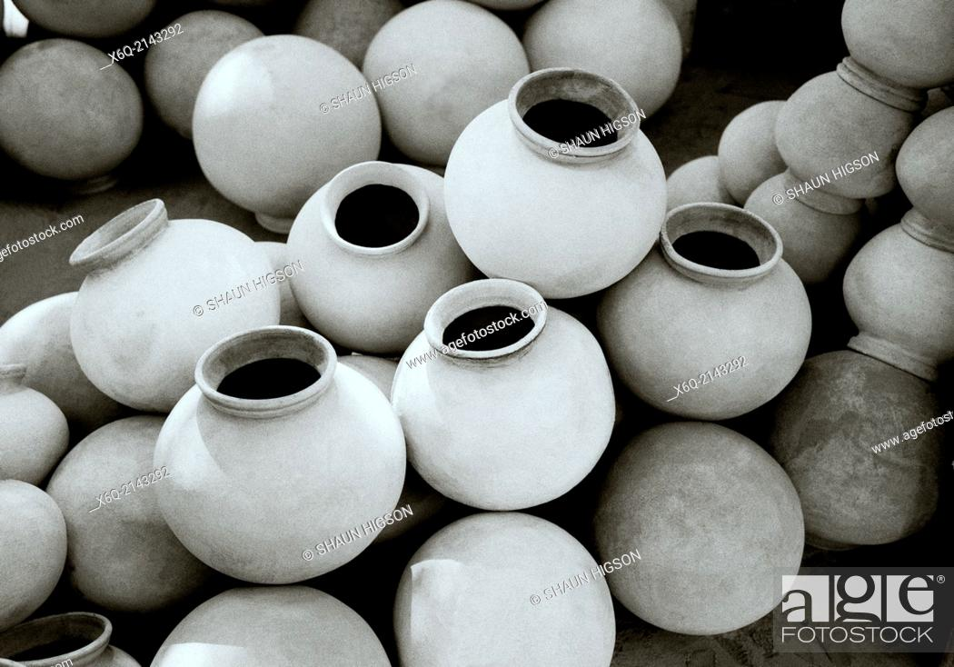 Stock Photo: Water vessels in Jodhpur in Rajasthan in India in South Asia.