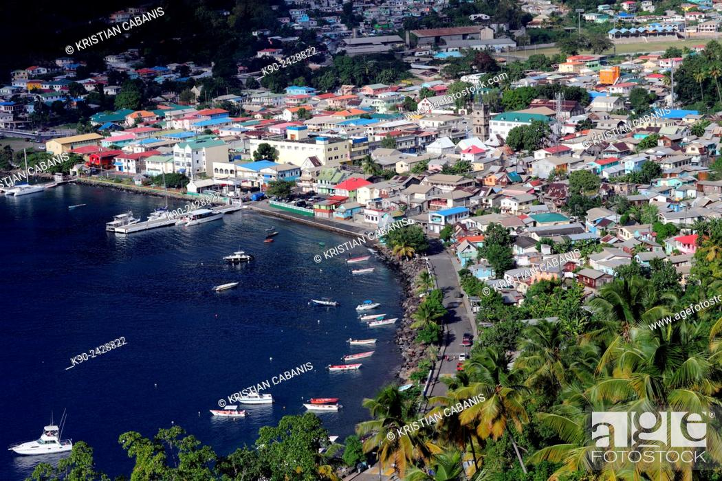 Stock Photo: Soufrière seen from high level, St Lucia, Windward Islands, Lesser Antilles, Eastern Caribbean Islands, West Indies, Americas.