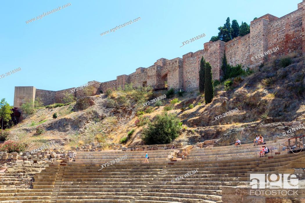 Stock Photo: Malaga, Malaga Province, Costa del Sol, Andalusia, southern Spain. Roman theatre and the Moorish alcazaba, or fortress.