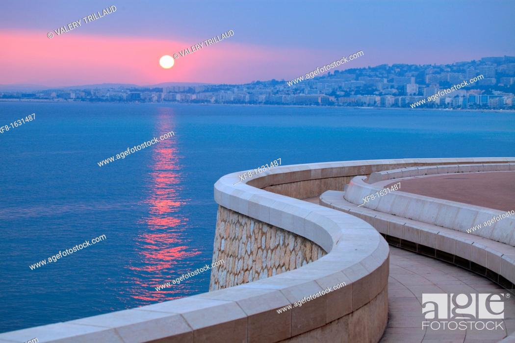 Stock Photo: Sunset above the sea, Nice, Alpes-Maritimes, French Riviera, Provence-Alpes-Côte d'Azur, France.
