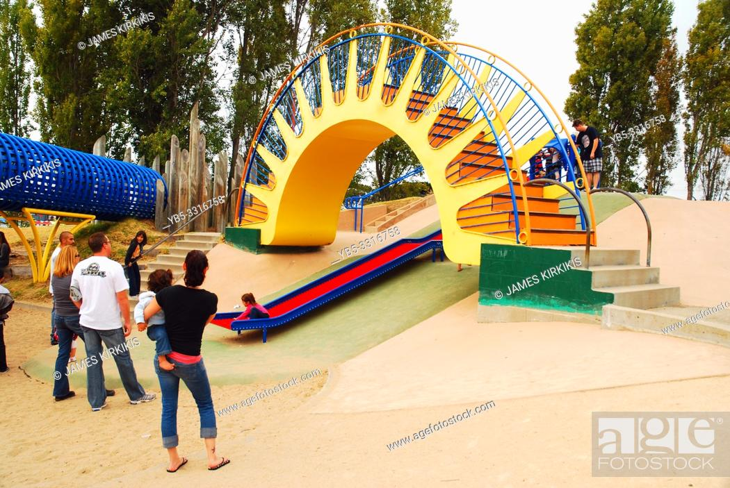Stock Photo: A bright and cheery playground, designed by Hank Ketchum, creator of Dennis the Menace, entertains kids in Monterrey, California.