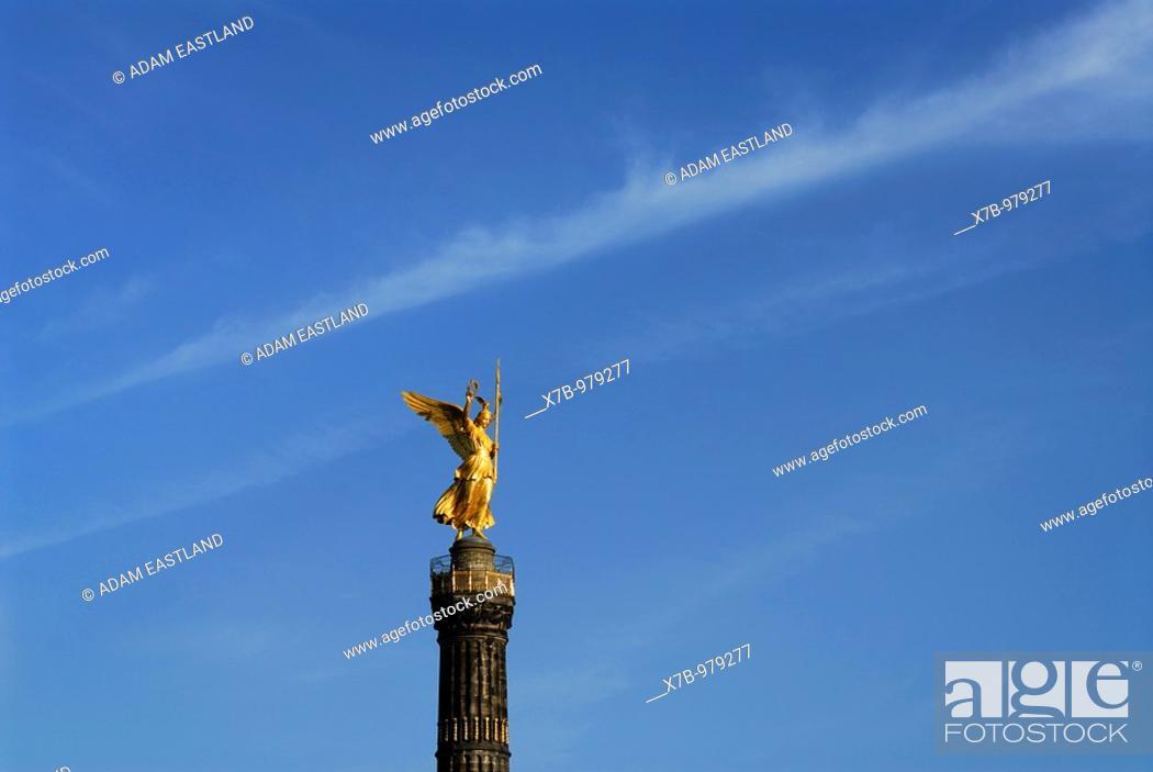 Stock Photo: Berlin  Germany  Statue of Victoria Siegessäule Victory Column.
