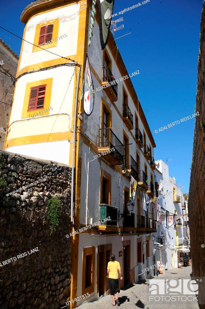 Stock Photo: Narrow street with balconies, Plaça dels Desemparats square, old town, Ibiza, Balearic Islands, Spain.