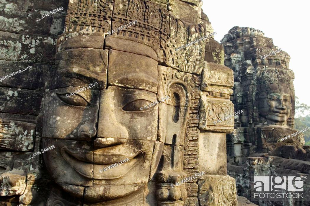 Stock Photo: Khmer architecture. Barroque peak. The Bayon temple (12th/13th Century). Angkor Thom. Cambodia.