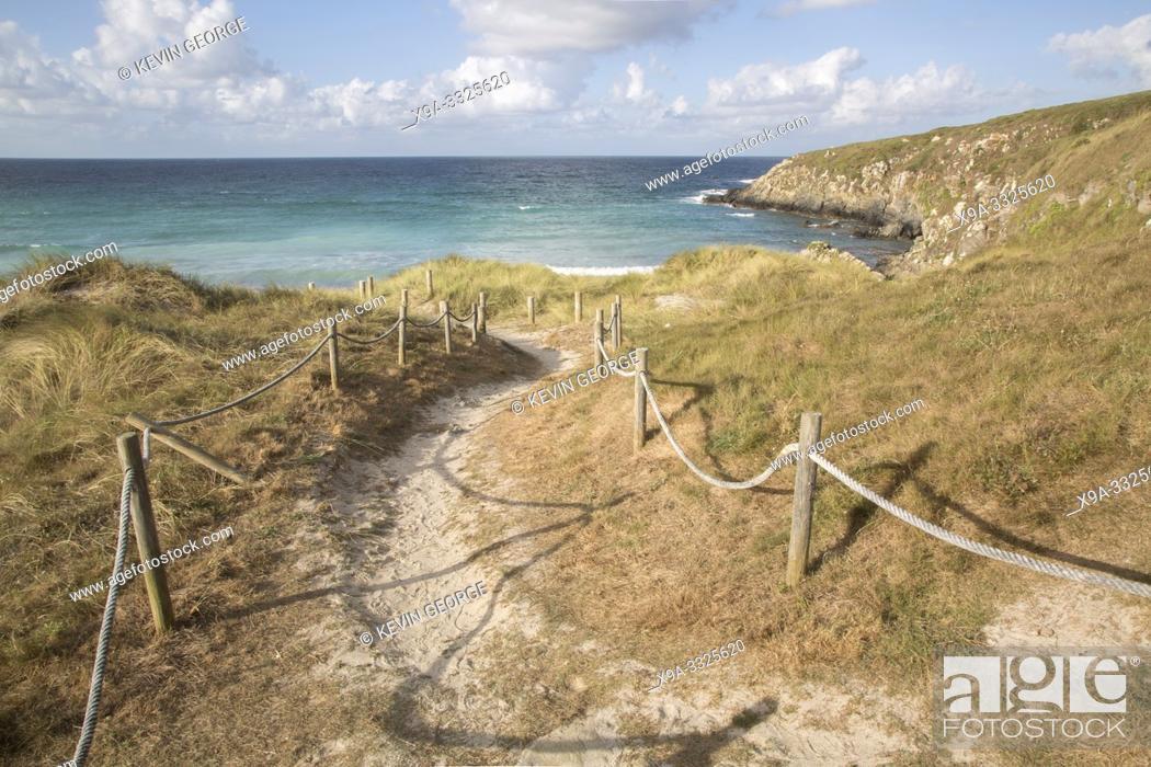 Stock Photo: Footpath at Beach in Malpica, Fisterra; Costa de la Muerte; Galicia; Spain.