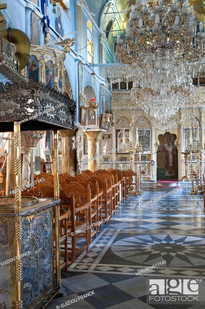 Stock Photo: Greece, Chios Island, the Medieval village of Pyrghi is part of Mastikochoria Mastic producing villages, the Dormition church of the 17th century.