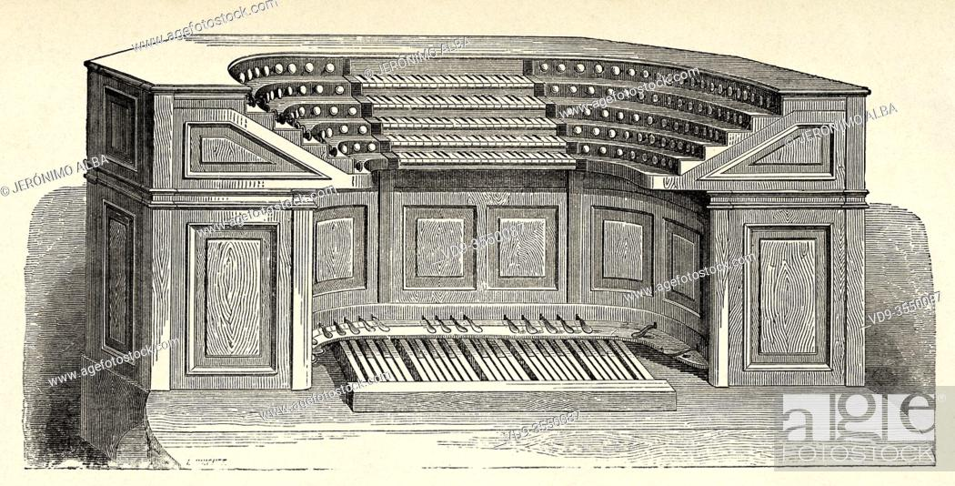 Stock Photo: Monumental organ of the Basilica of Saint Peter at Vatican, Rome. Italy, Europe. Old 19th century engraved illustration, El Mundo Ilustrado 1880.