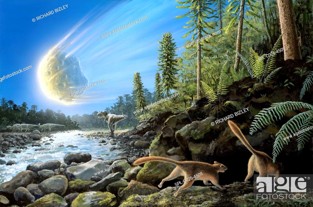 Photo de stock: Illustration of the K/T Event at the end of the Cretaceous Period. A ten-kilometre-wide asteroid/comet is entering the Earth's atmosphere and a pair of mammals.