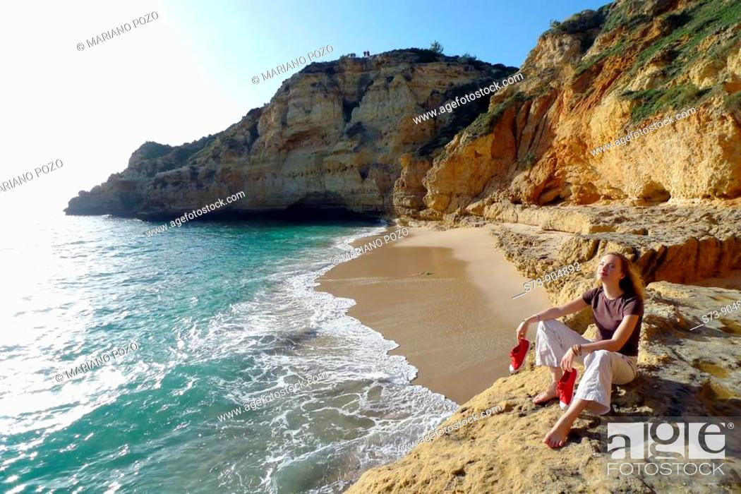 Stock Photo: Paraiso beach, Carvoeiro, Algarve, Portugal, Europe.