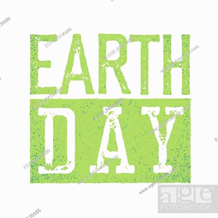 Stock Vector: Earth Day Logo. Grunge texture in separate layer.