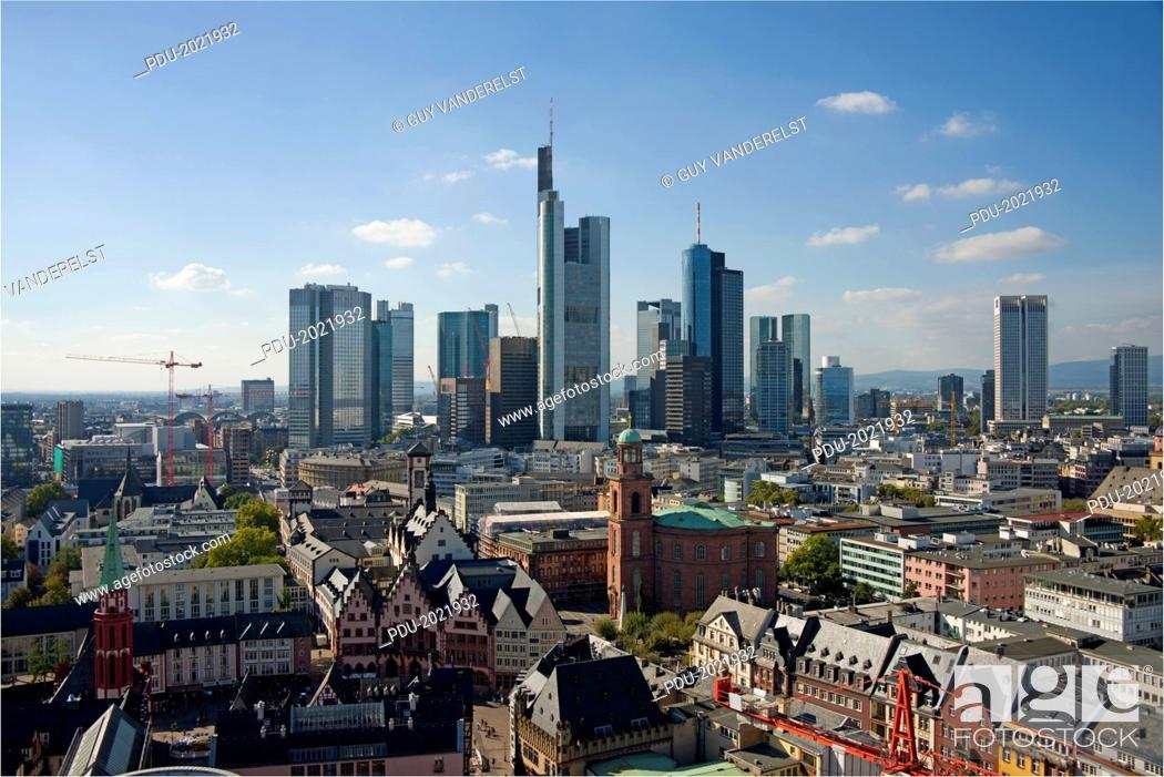 Stock Photo: Elevated view of Frankfurt with skyscrapers.