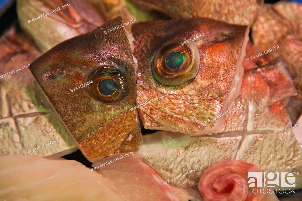 Stock Photo: A fish market in Nishiki market showing fish eyes.