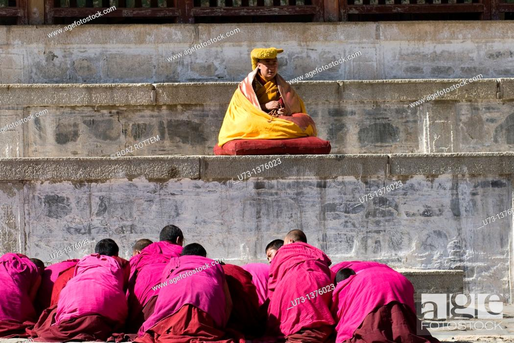 Stock Photo: A Tibetan Buddhist ceremony conducted by a high Lama at Labrang monastery.